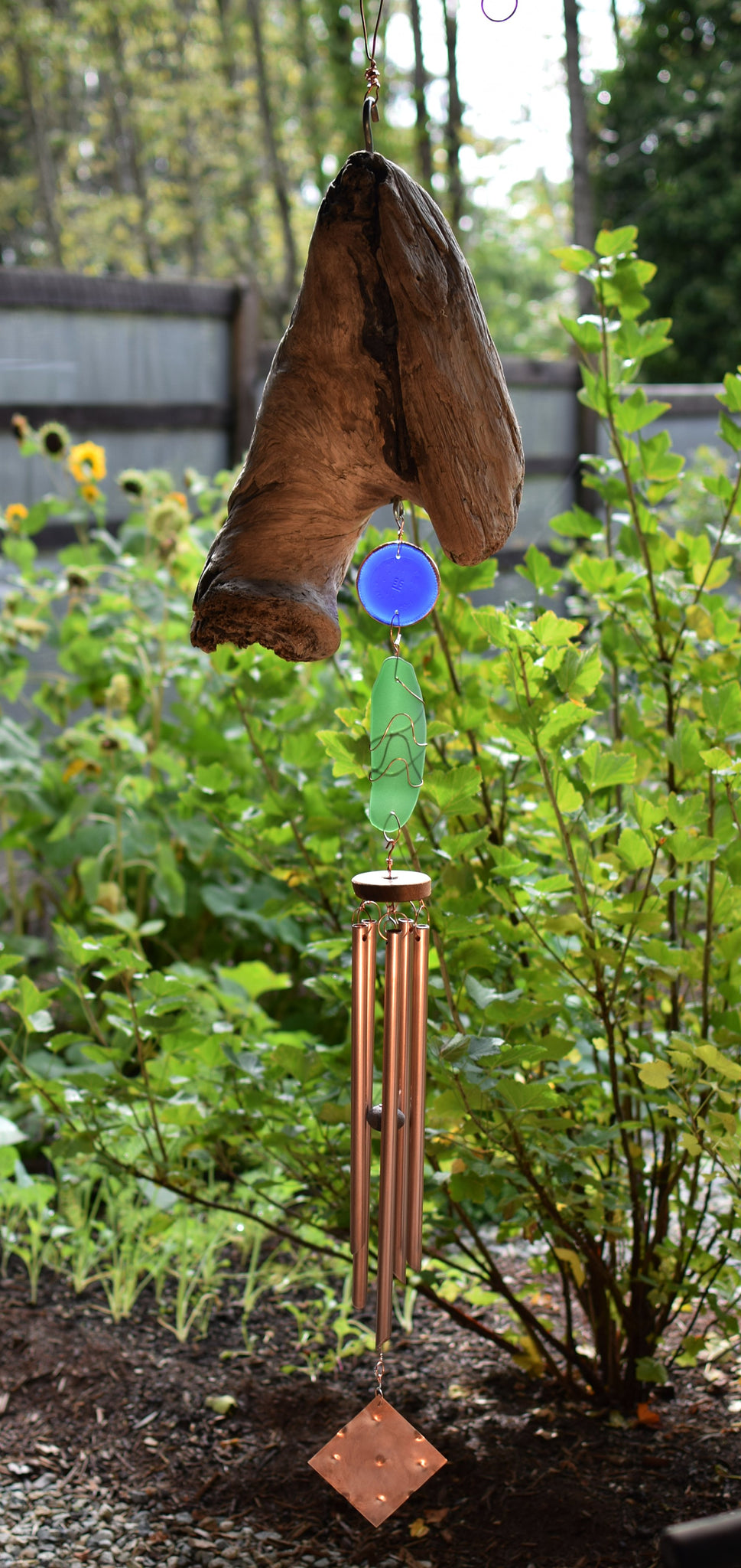 Wind Chime Sea Glass Driftwood Large Copper Windchimes