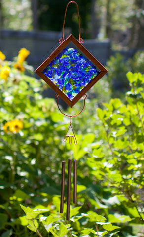 Wind Chime Blue Green Glass Copper Handcrafted Outdoor