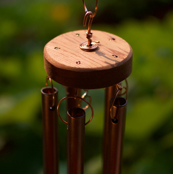 Wind Chime Outdoor Large Driftwood Copper Beach Stone Glass