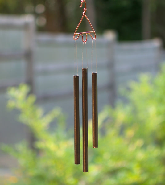 Blue Glass, Beach Stone, and Copper Outdoor Wind Chime
