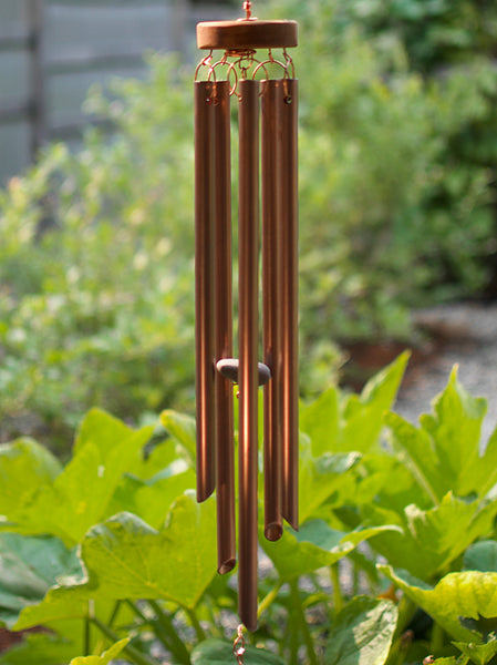 Wind Chime Natural Driftwood Beach Stones Glass Copper
