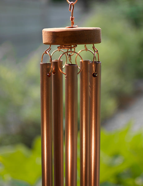Wind Chime Natural Driftwood Beach Stones Large Copper Chimes
