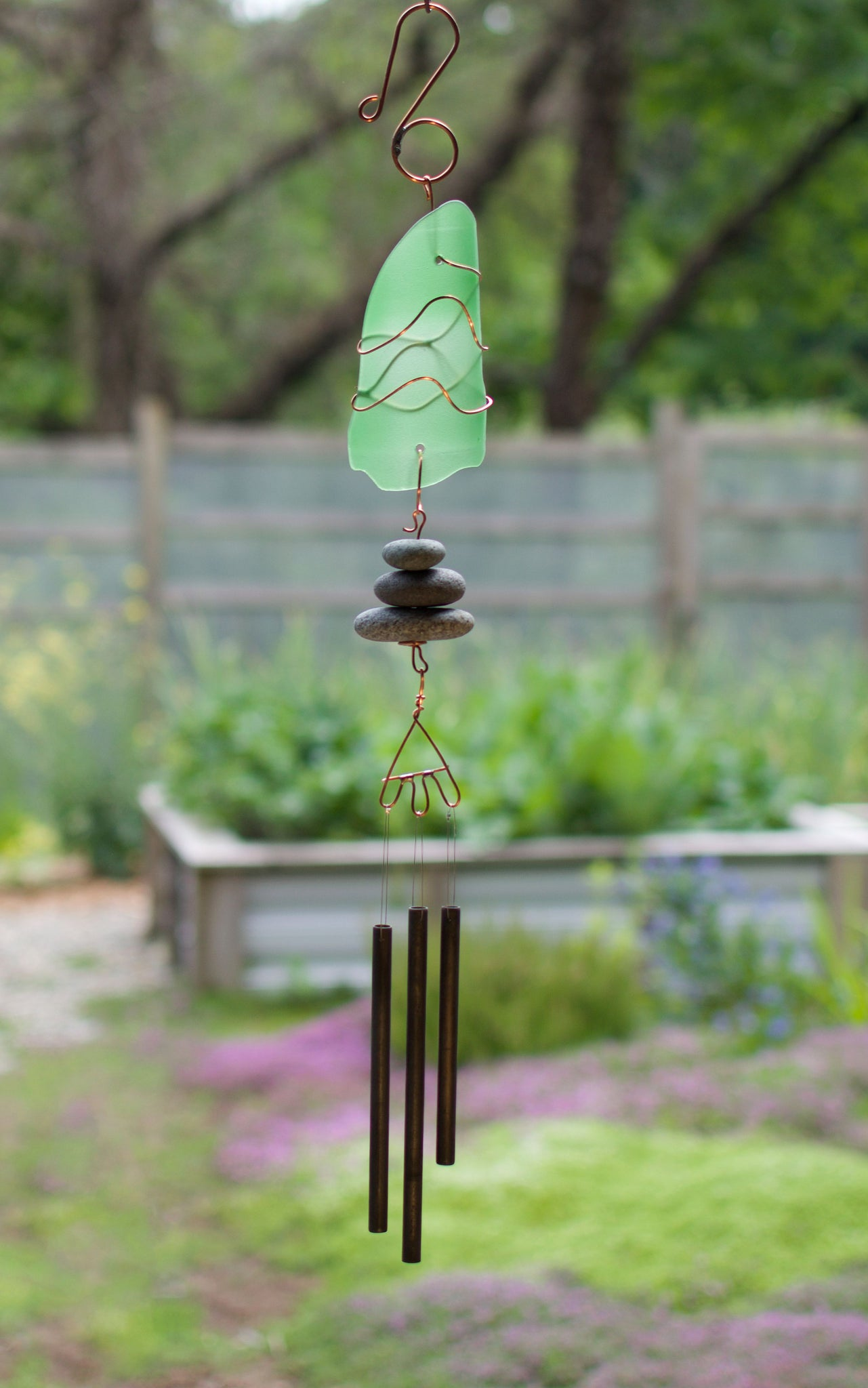 Wind Chime Sea Glass Beach Stones and Aged Brass Chimes