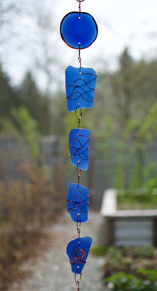 Wind Chime Blue Glass Copper Antiqued Brass Chimes