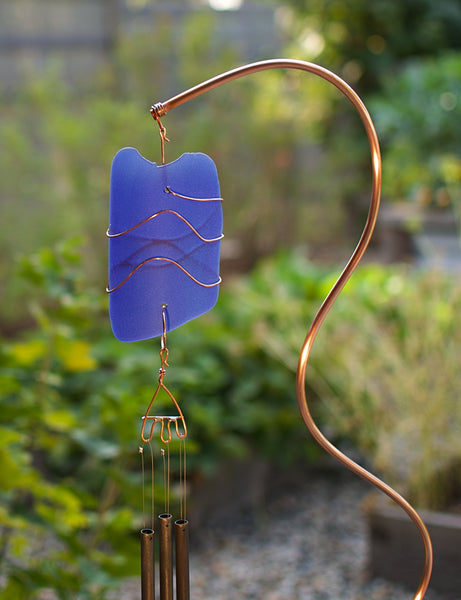 Wind Chiime Freestanding Beach Stone Copper Sea Glass Outdoor