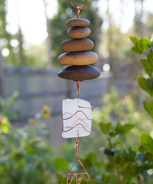 Wind Chime Zen Outdoor Beach Stones Sea Glass Windchimes