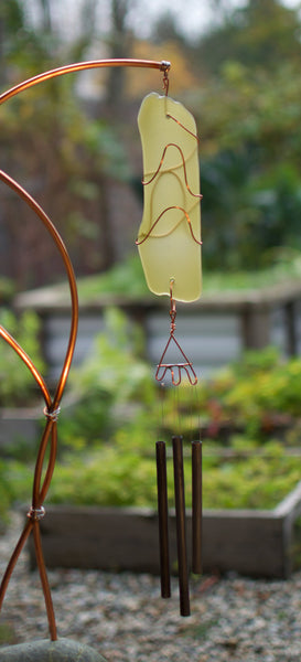 Freestanding Wind Chime Sea Glass Beach Stone Copper Windchimes