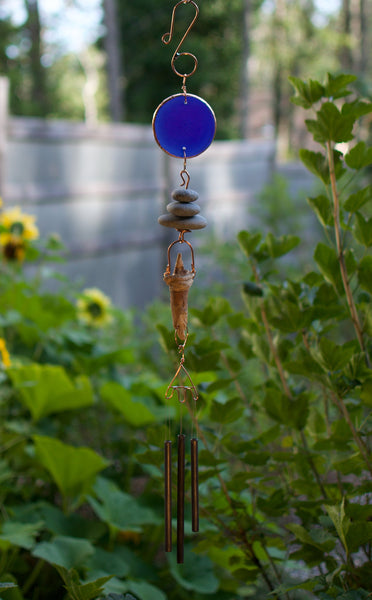 Wind Chime Glass, Beach Stones, Driftwood Handcrafted Garden Art