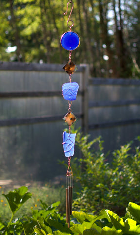 Wind Chime Blue Glass Copper Outdoor Windchimes