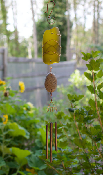 Wind Chime Sea Glass Beach Stone Outdoor Windchimes