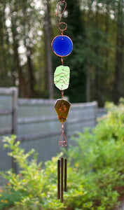 Suncatcher Wind Chime Sea Glass Copper Outdoor Windchime