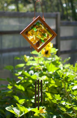 Wind Chime Earth Colors Sea Glass Copper Outdoor Chimes