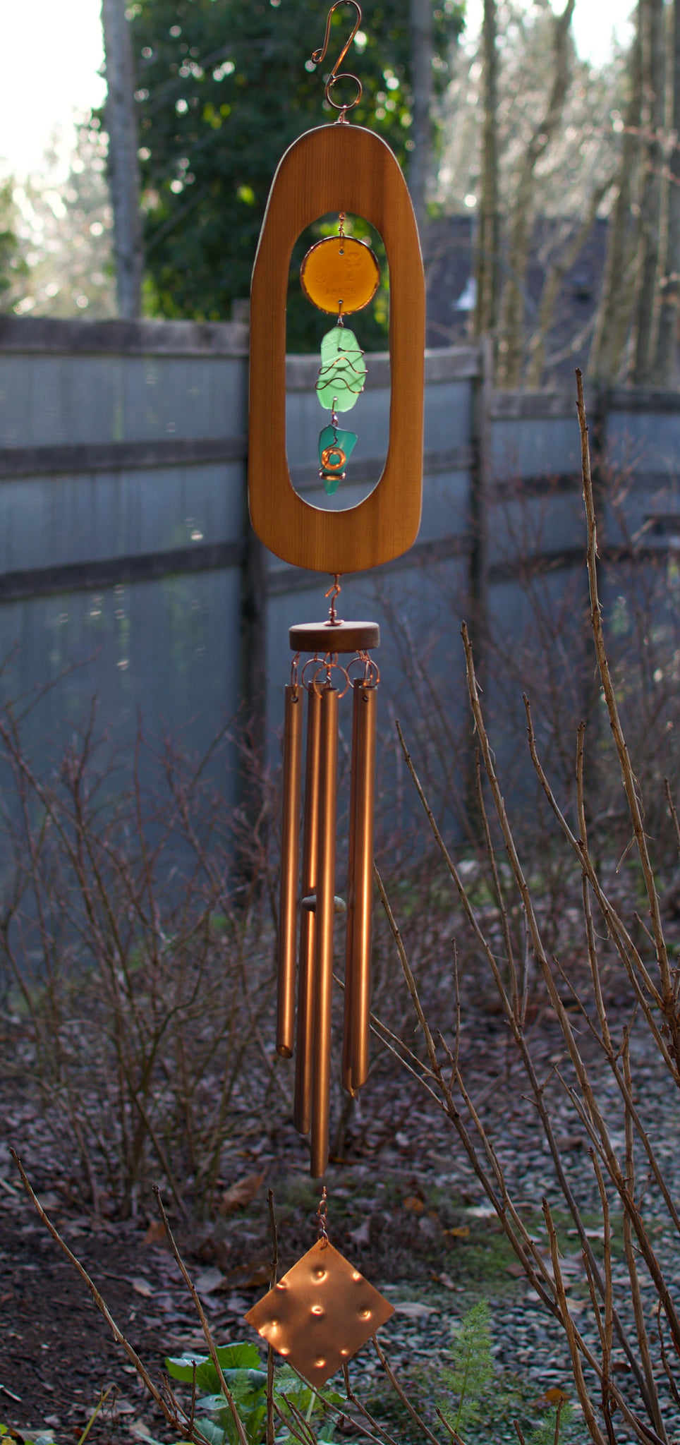 Wind Chime Beach Glass Cedar Copper Outdoor Chimes