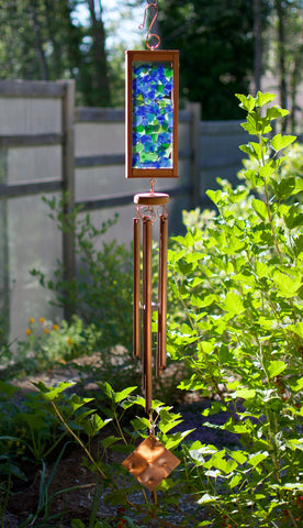 Wind Chime Beach Blue Green Glass Copper Outdoor