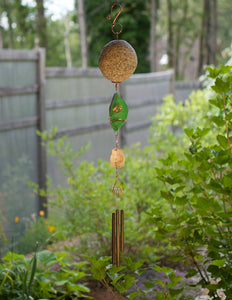Emerald Green Sea Glass Beach Stone Outdoor Wind Chime