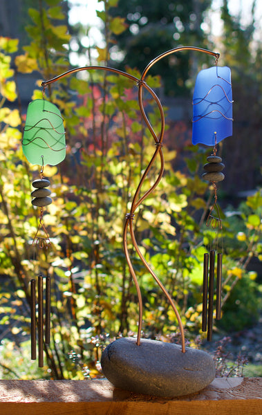Wind Chime Freestanding Sea Glass Beach Stone Copper