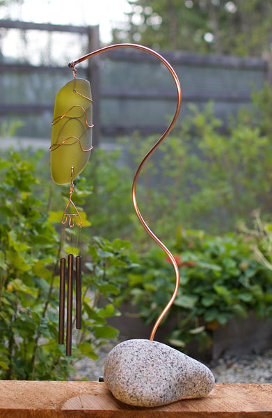 Wind Chime Freestanding Beach Stone Sea Glass Copper Windchimes