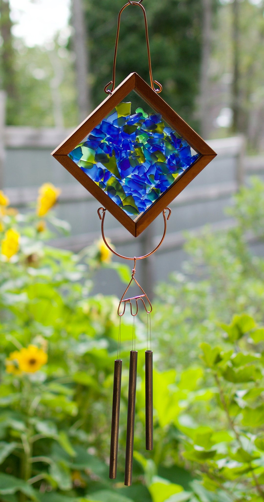 Wind Chime Blue Green Glass Kaleidoscope Outdoor