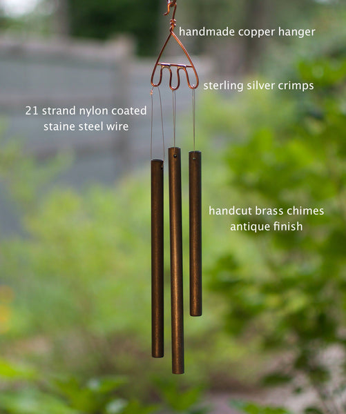 Windchime Sea Glass Beach Stone Brass Chimes Wind Chimes