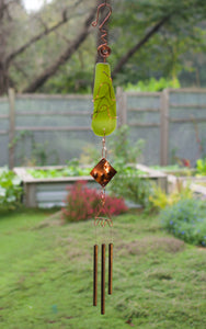 Wind Chime Sea Glass Copper Brass Outdoor Suncatcher