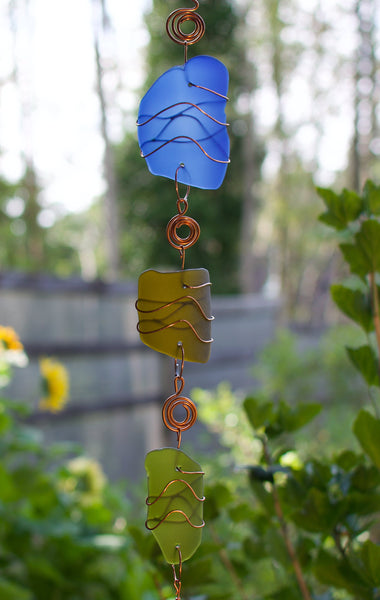 Glass and Copper Handcrafted Outdoor Wind Chime