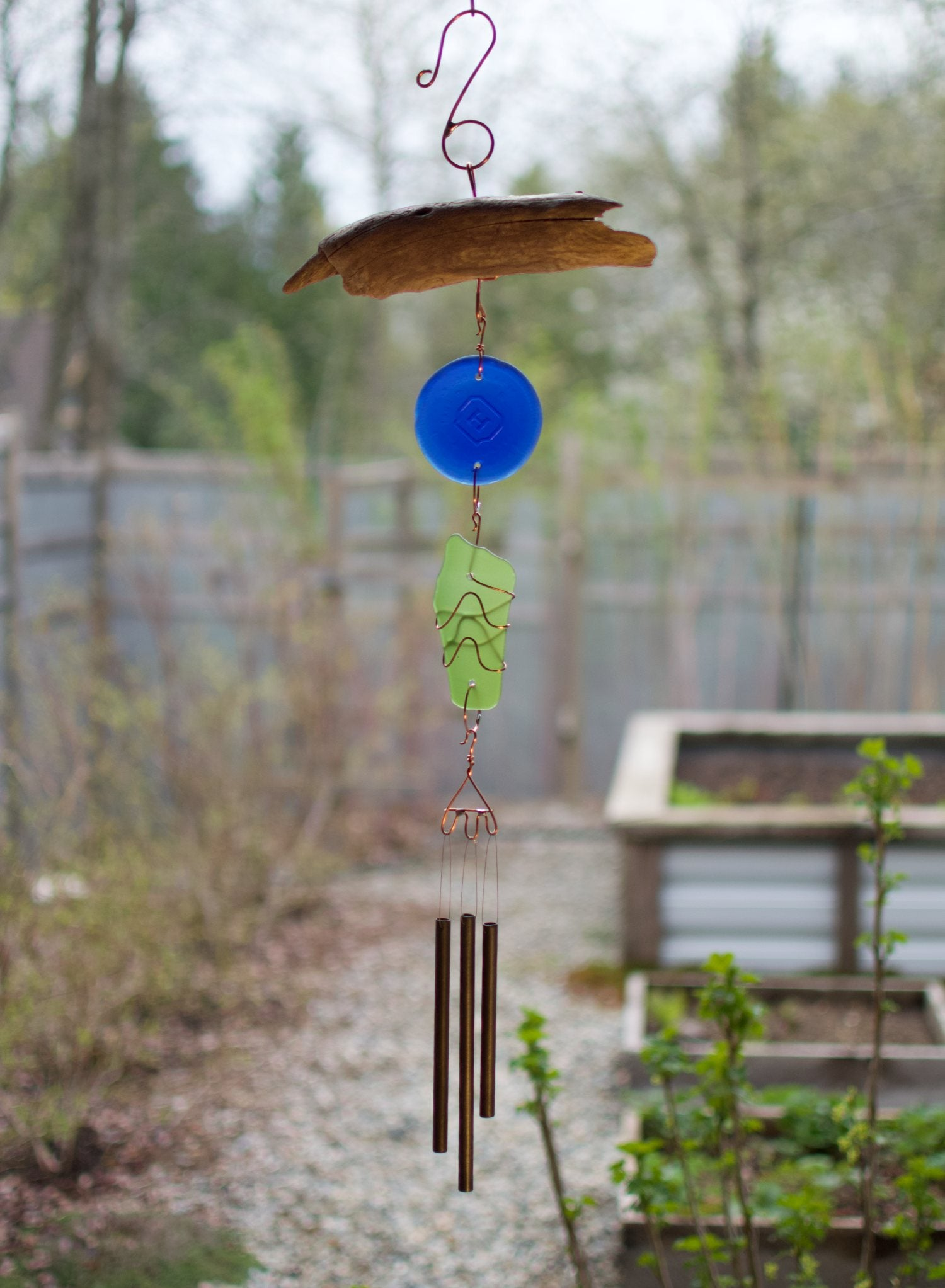 Wind Chime Driftwood Sea Glass Outdoor Windchimes