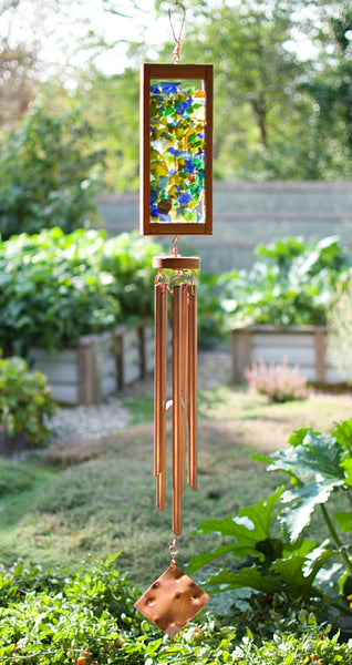 Wind Chime Beach Glass Copper Cedar Outdoor Large