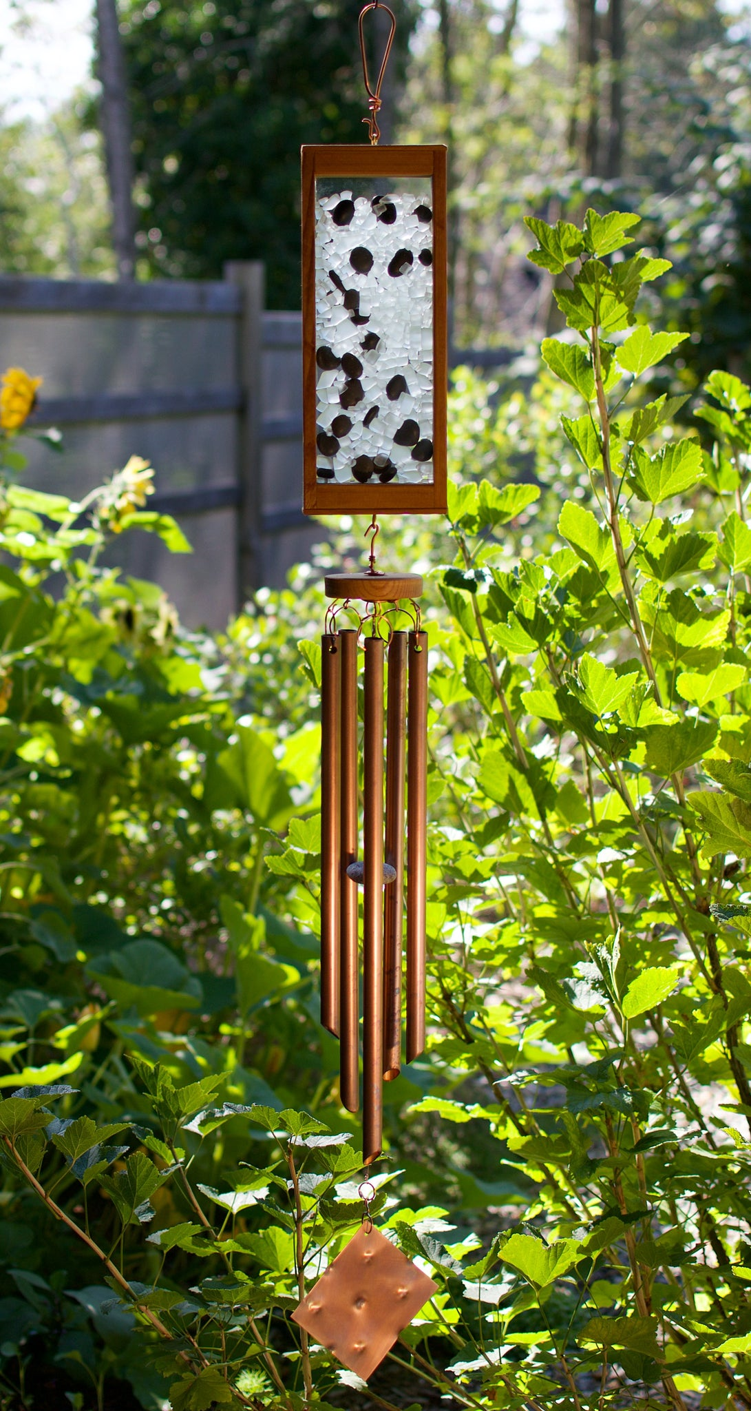 Wind Chime Frosty Glass with Beach Stones Large Copper Chimes
