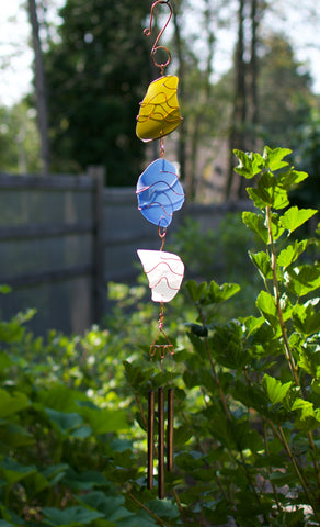 Wind Chime Outdoor Sea Glass Copper Suncatcher