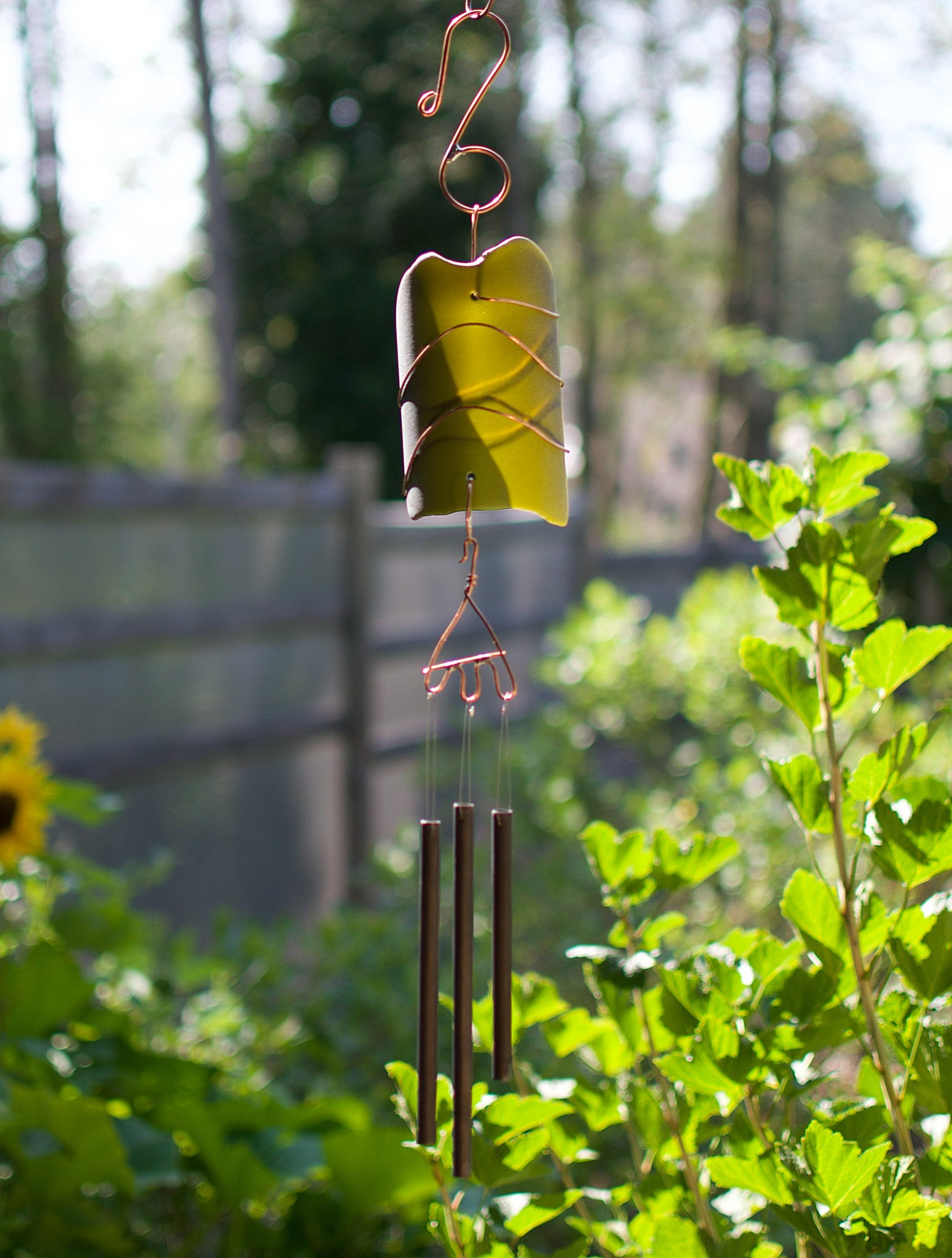 Handcrafted Sea Glass Copper Art Wind Chime