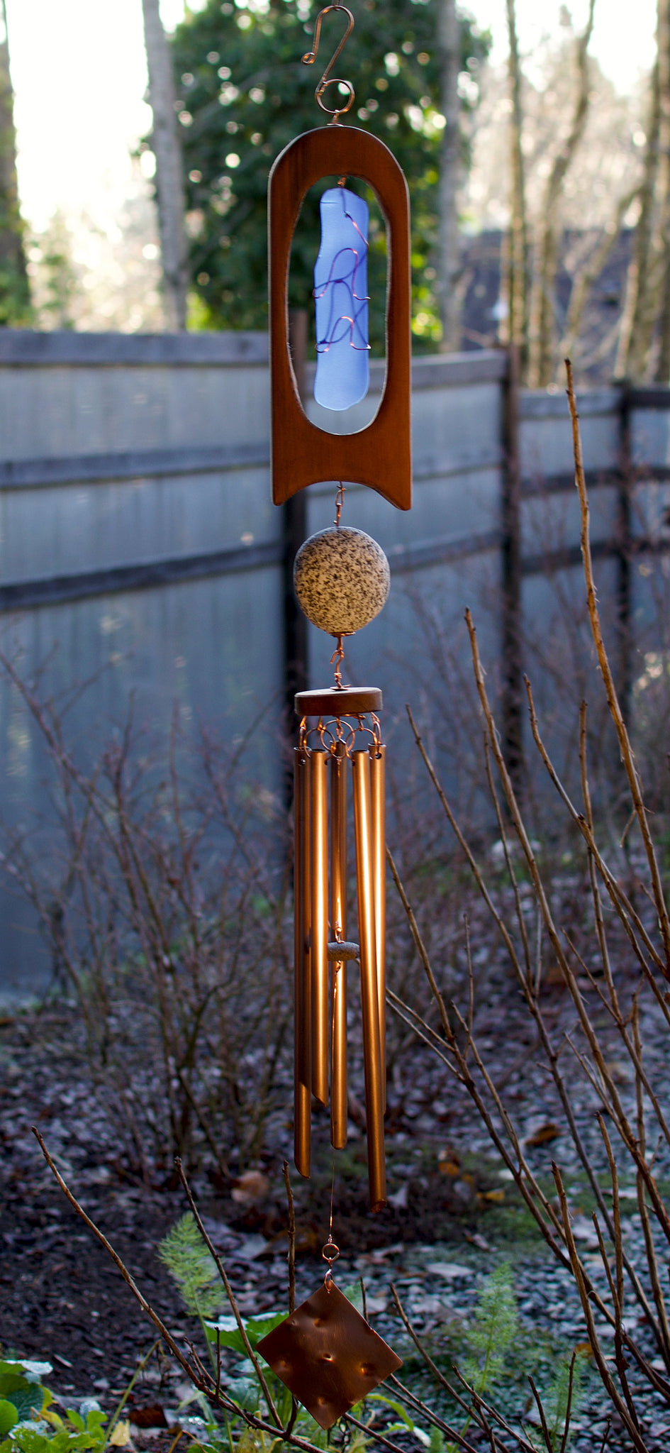 Wind Chime Blue Glass Cedar Copper Outdoor Large Windchimes