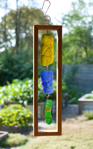Suncatcher Cedar Framed Sea Glass Sun Catcher
