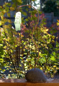 Wind Chime Sea Glass Copper Beach Stone Freestanding