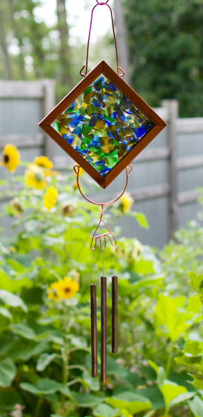 Stained Glass Outdoor Kaleidoscope Wind Chime