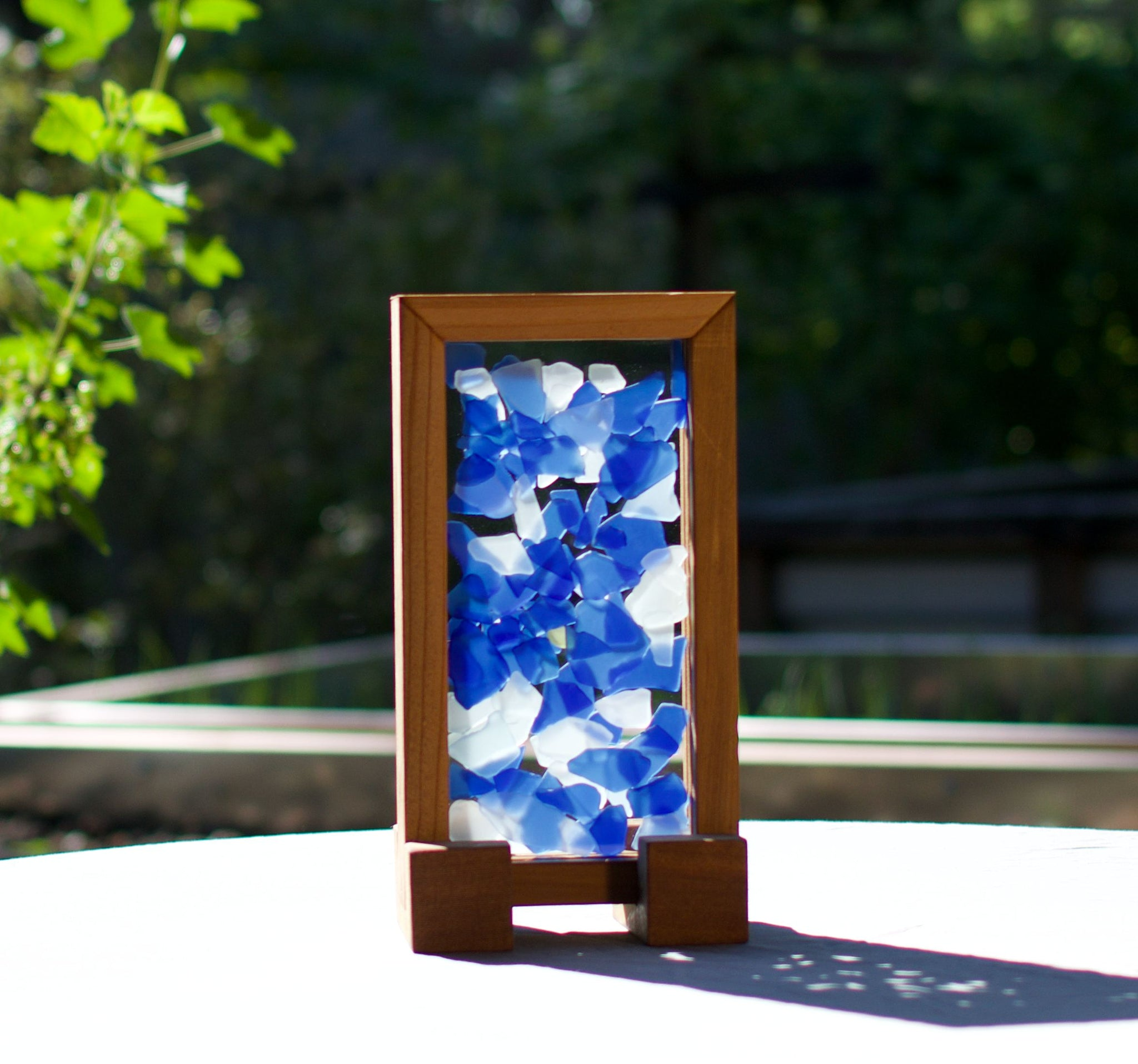 Suncatcher Freestanding Blue White Sea Glass Sun Catcher