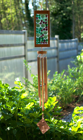 Windchime Green Purple Glass Suncatcher Wind Chime - Coast Chimes - 1