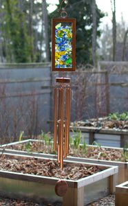 Wind Chime Kaleidoscope Sea Glass Copper Outdoor Windchimes
