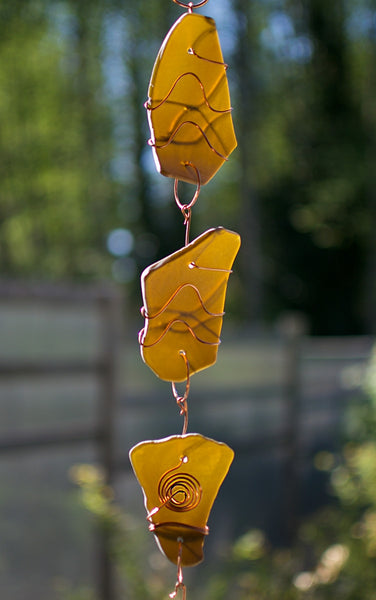 Wind Chime Sea Glass Copper Outdoor Handcrafted Windchimes