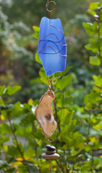 Wind Chime Natural Beach Stone Glass Shell Windchimes