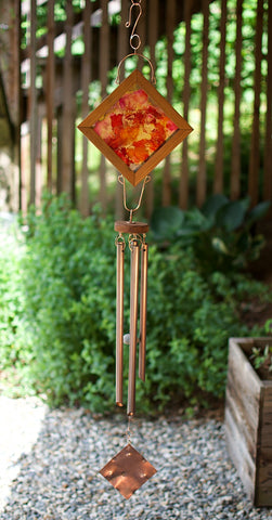 Bright Red Gold Art Original Large Outdoor Wind Chime