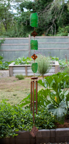 Wind Chime Outdoor Green Glass Copper Suncatcher Windchimes