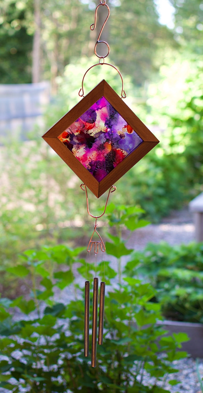 Colorful Wind Chime Reverse Painting Copper Art