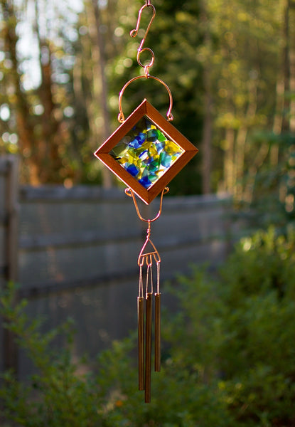 Wind Chime Sea Glass Copper Handcrafted Outdoor