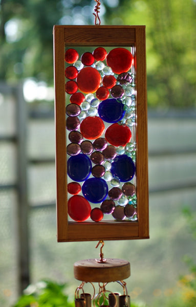 Windchime Blue Red Purple Glass Suncatcher Wind Chimes - Coast Chimes - 2