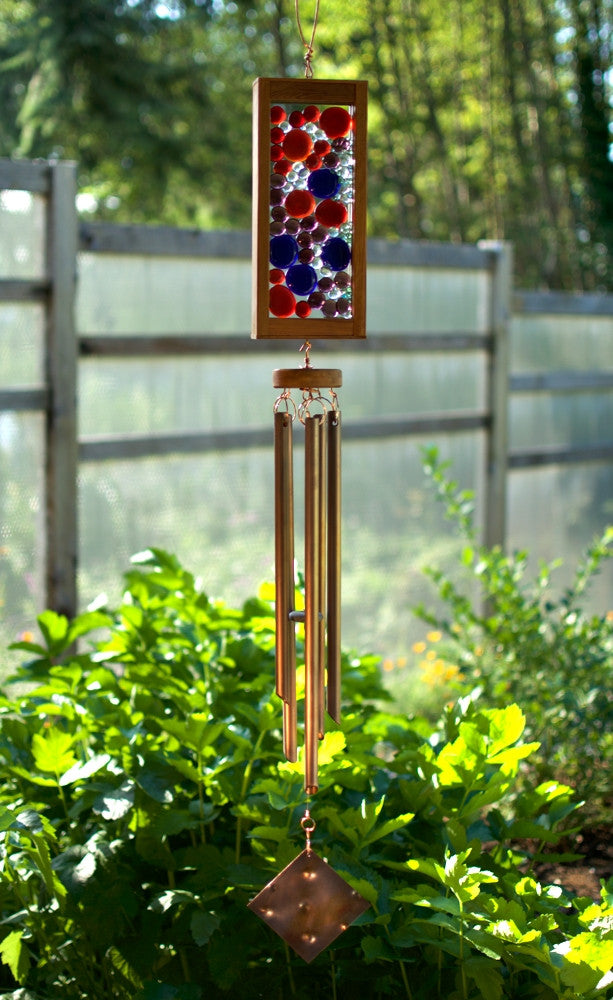 Windchime Blue Red Purple Glass Suncatcher Wind Chimes - Coast Chimes - 1