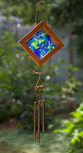 Blue Green Glass Kaleidoscope Outdoor Wind Chime
