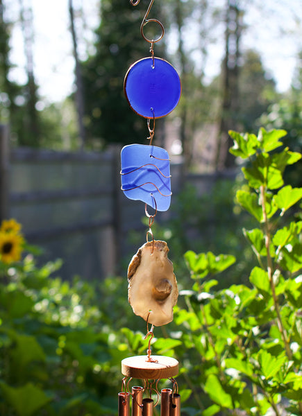 Cobalt Blue Glass, Oyster Shell, Copper Handcrafted Wind Chime