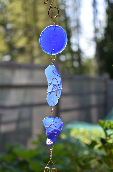 Blue Glass and Copper Outdoor Handcrafted Art Wind Chime