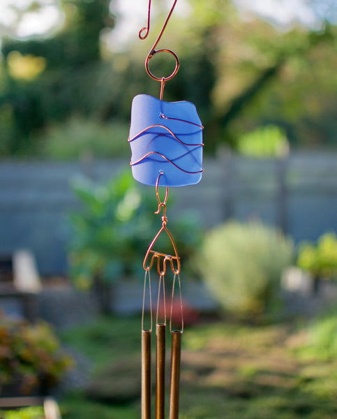 Wind Chime Blue Glass Copper Brass Outdoor Chimes