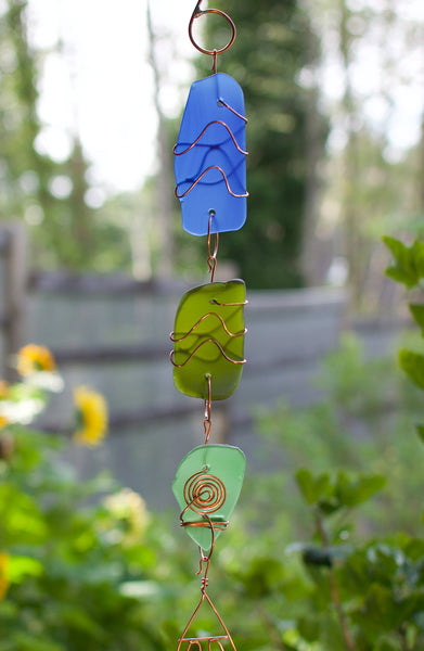 Outdoor Wind Chime Sea Glass Copper Brass Handcrafted